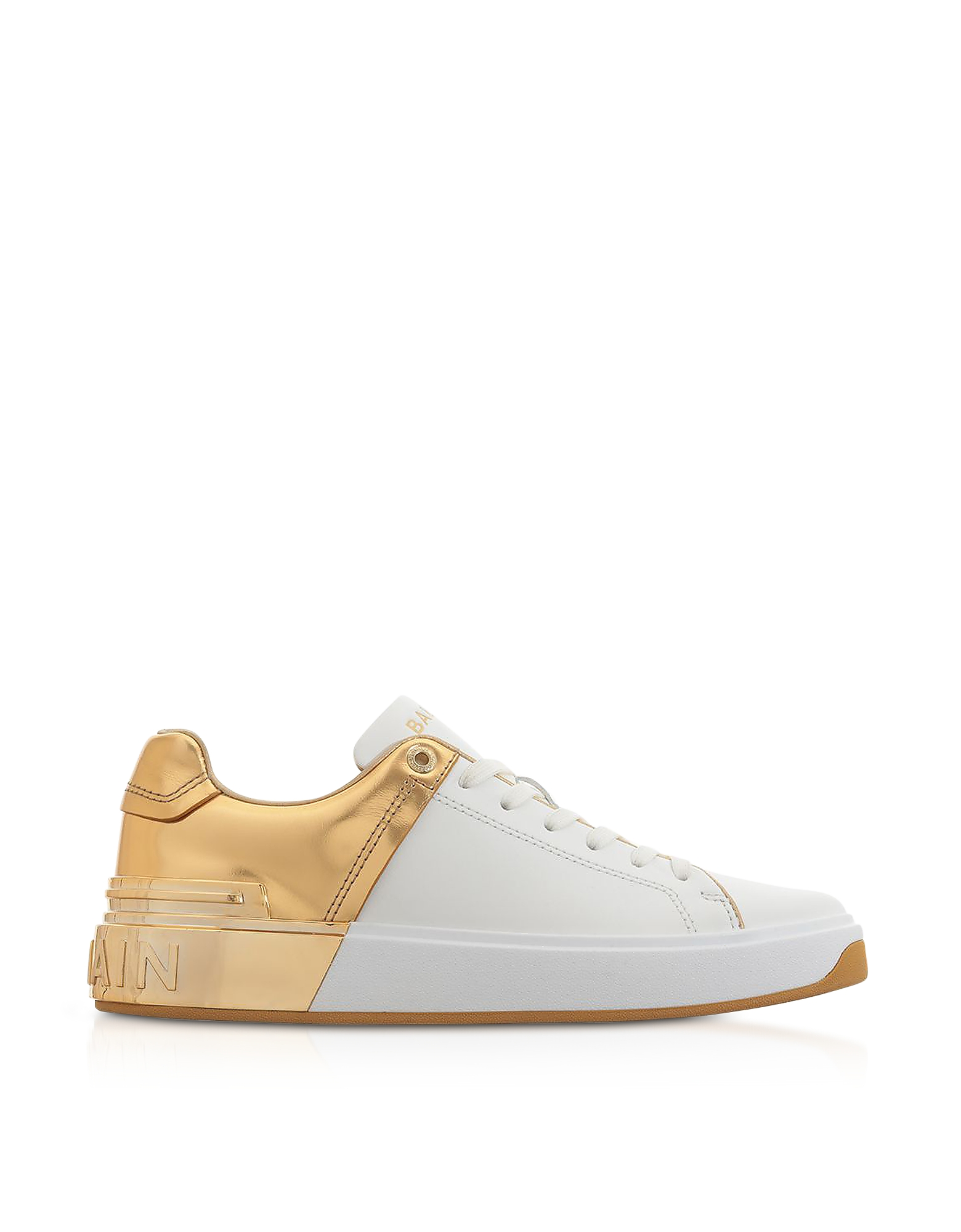 Balmain Designer Shoes, White & Gold Leather Lace up Women's Sneakers