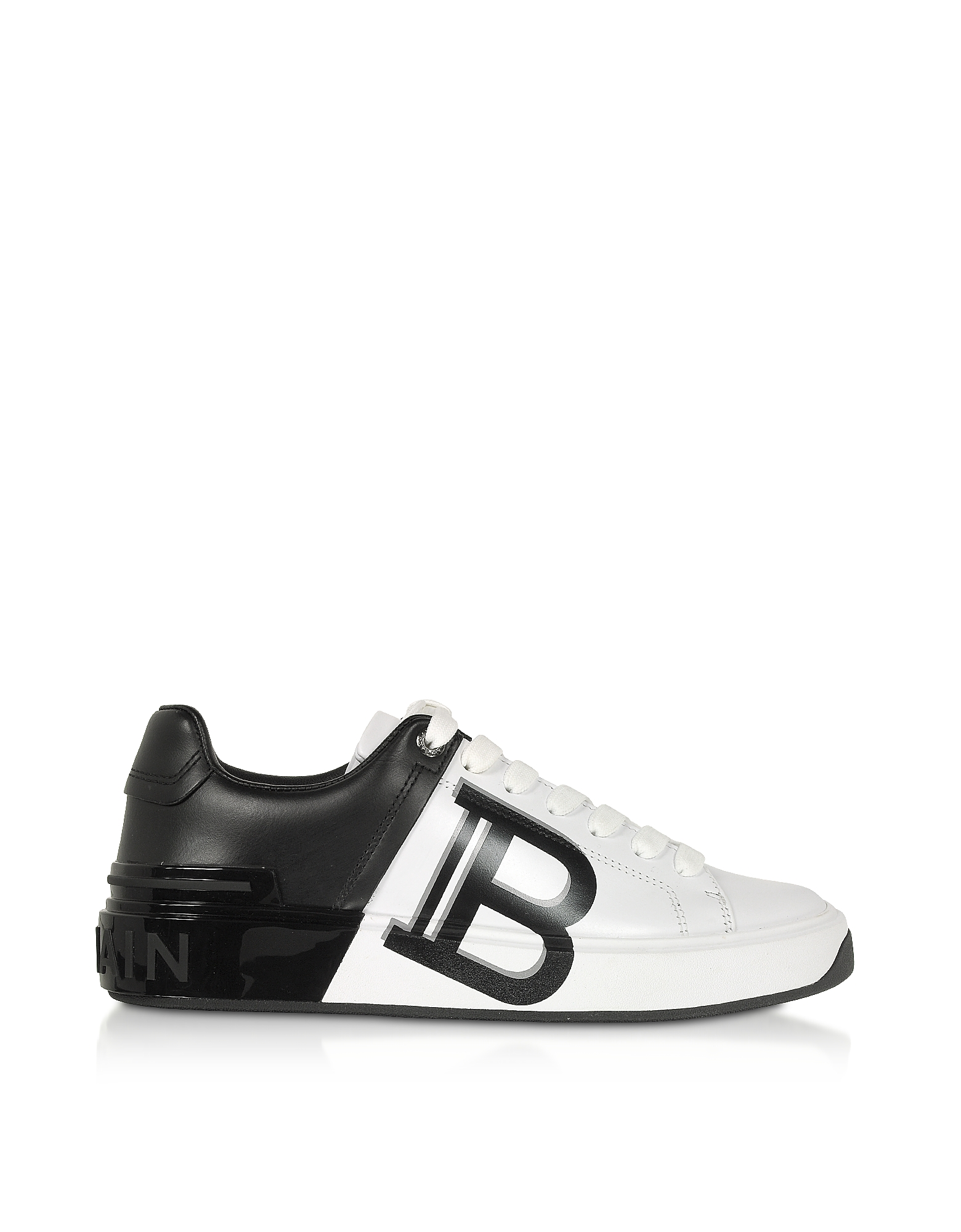 Balmain Designer Shoes, White & Black Leather Lace up Women's Sneakers