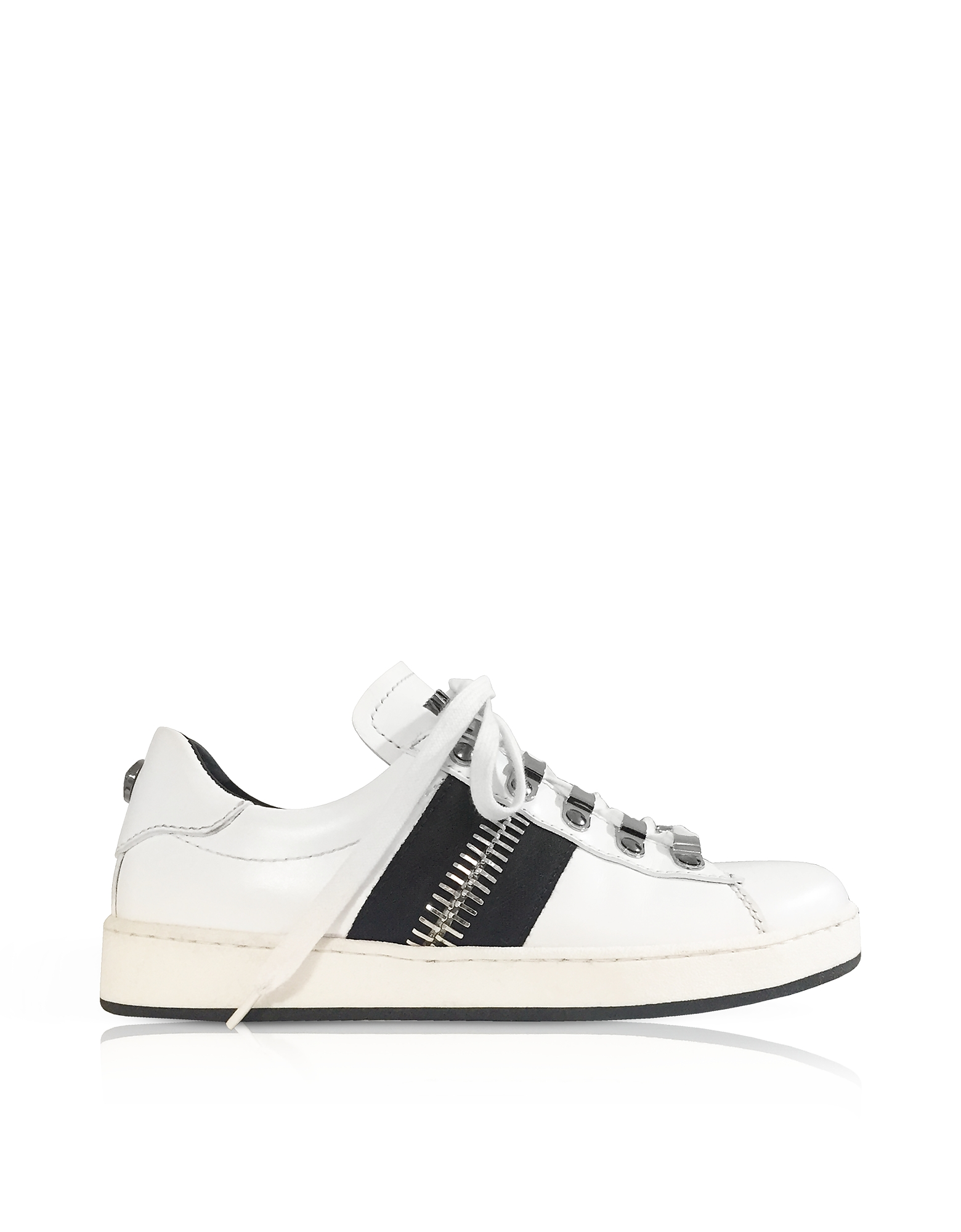 White Calfskin Lace-Up Low-Rise Sneaker. from STYLEBOP.com