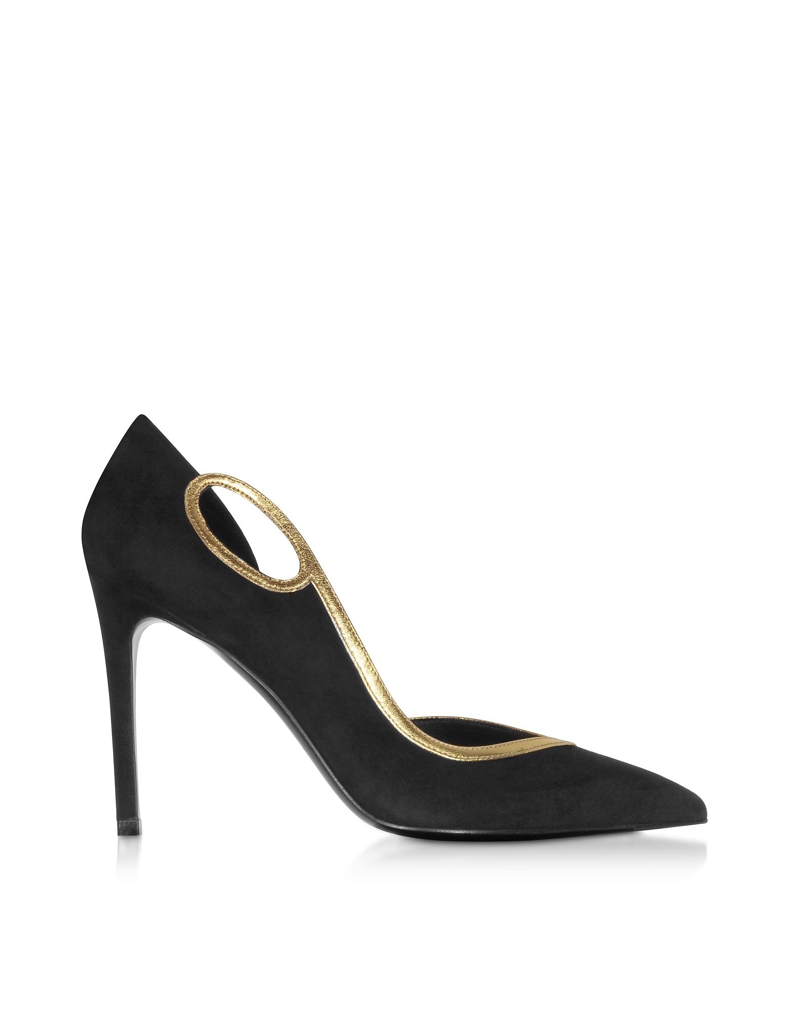Balmain Designer Shoes, Black Leather Miley Pumps