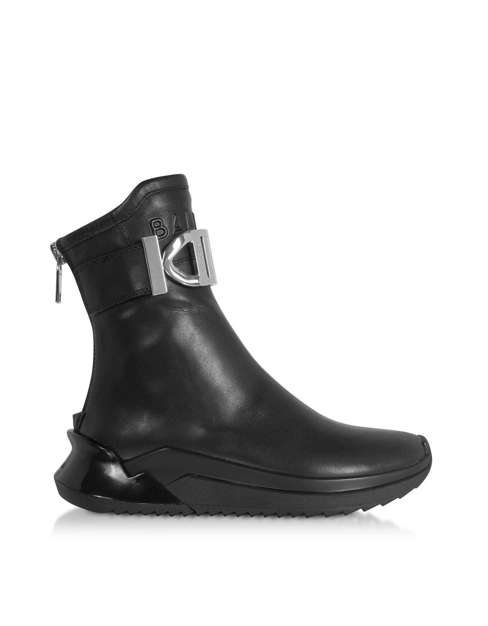 Balmain Designer Shoes, Black B-Glove Nappa Sneakers