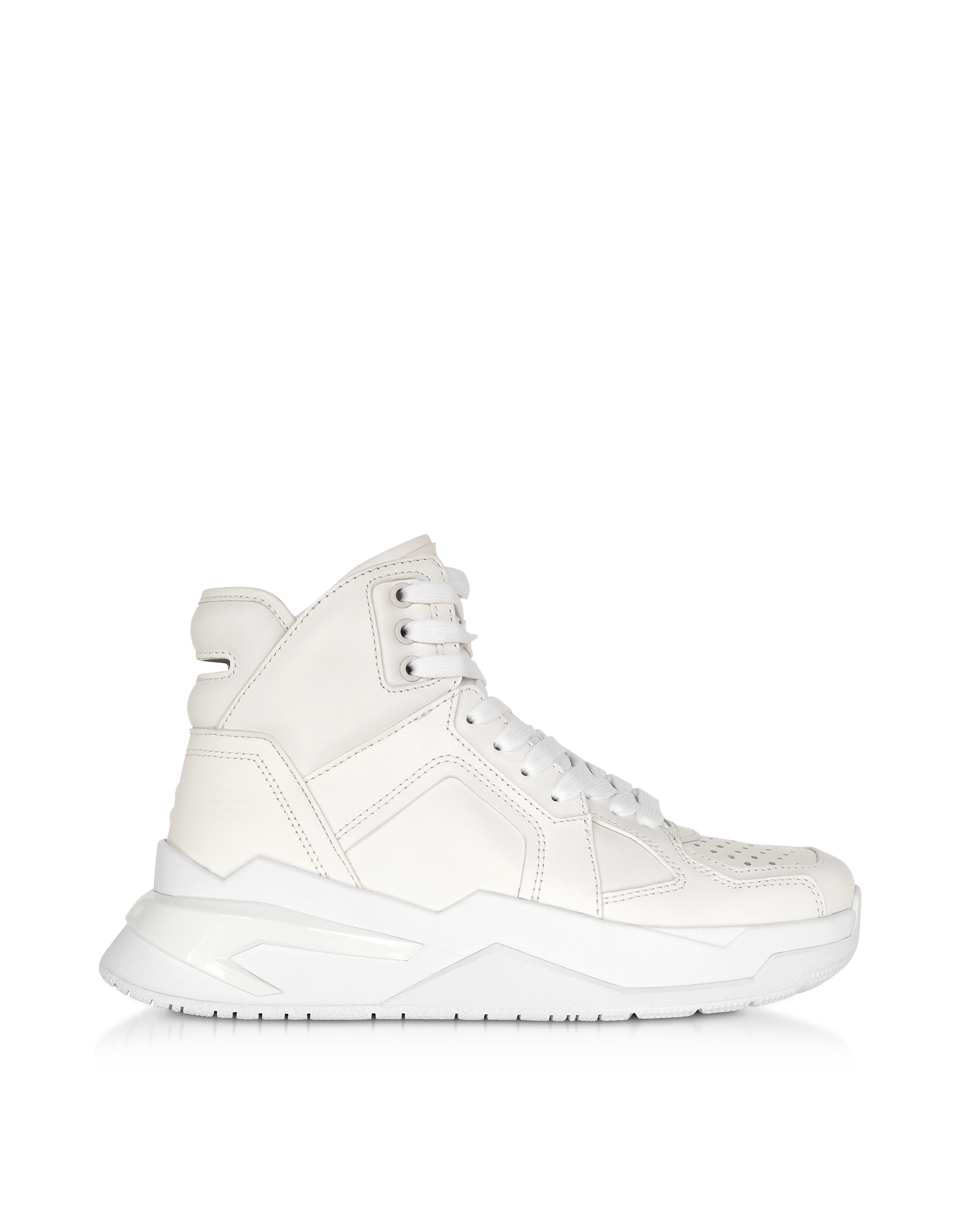 Balmain Designer Shoes, White High Top Men's B-Ball Sneakers