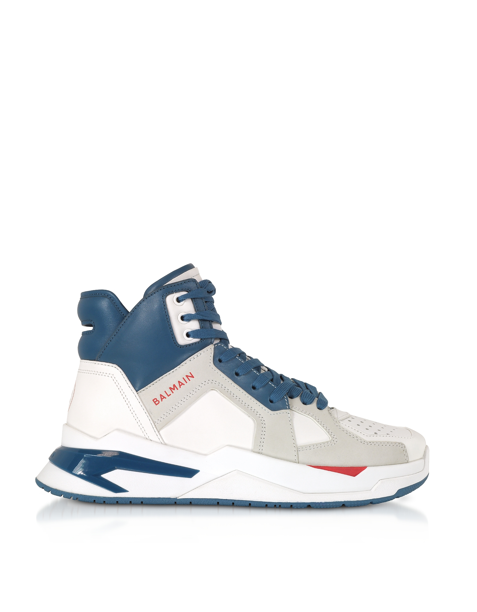 Balmain Designer Shoes, White & Blue High Top Men's B-Ball Sneakers