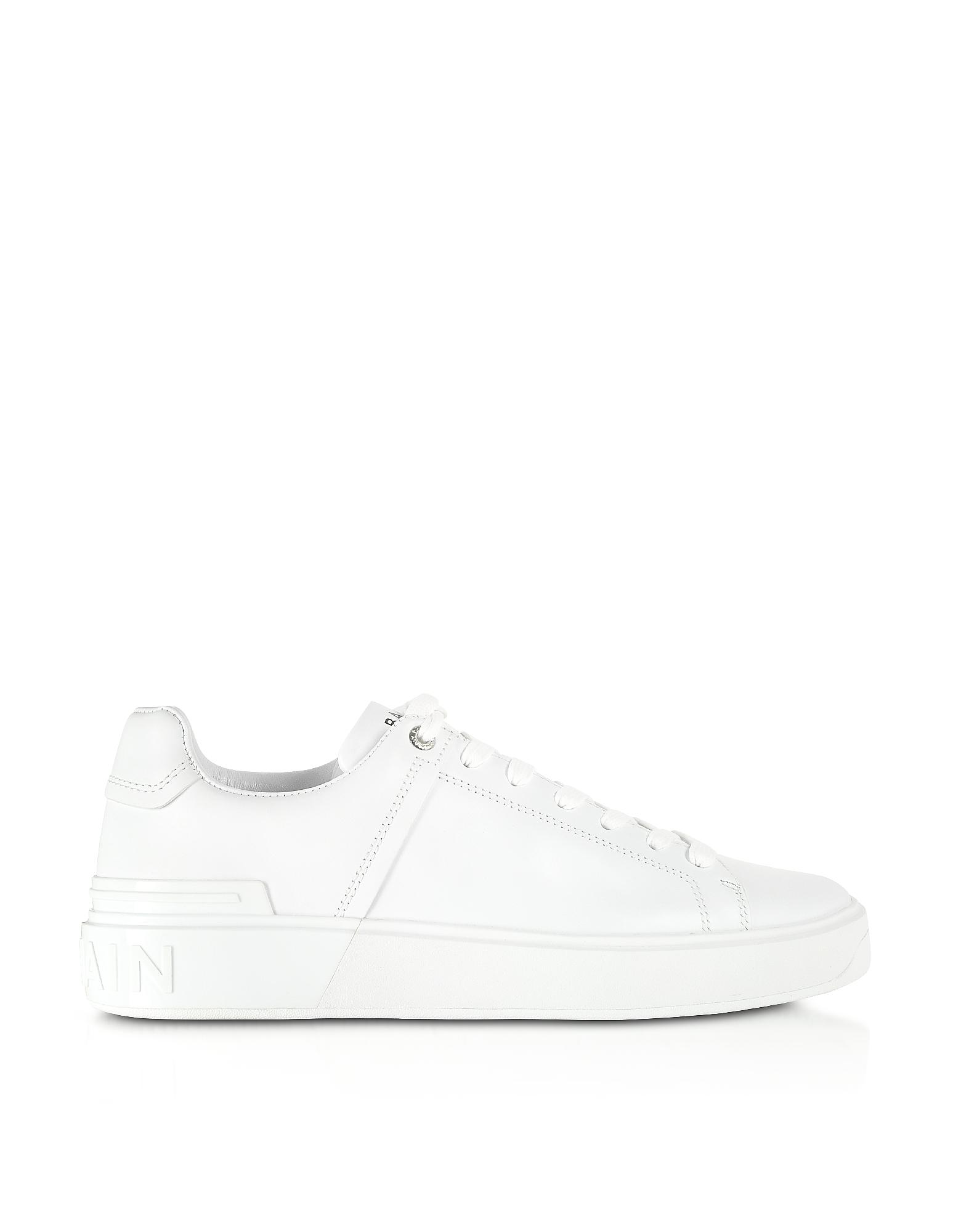 Balmain Designer Shoes, White Low Top Men's B-Court Sneakers