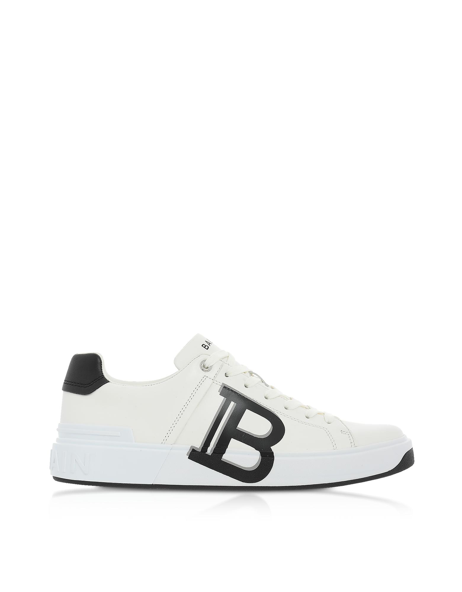 Balmain Designer Shoes, White & Black Low Top Men's B-Court Signature Sneakers