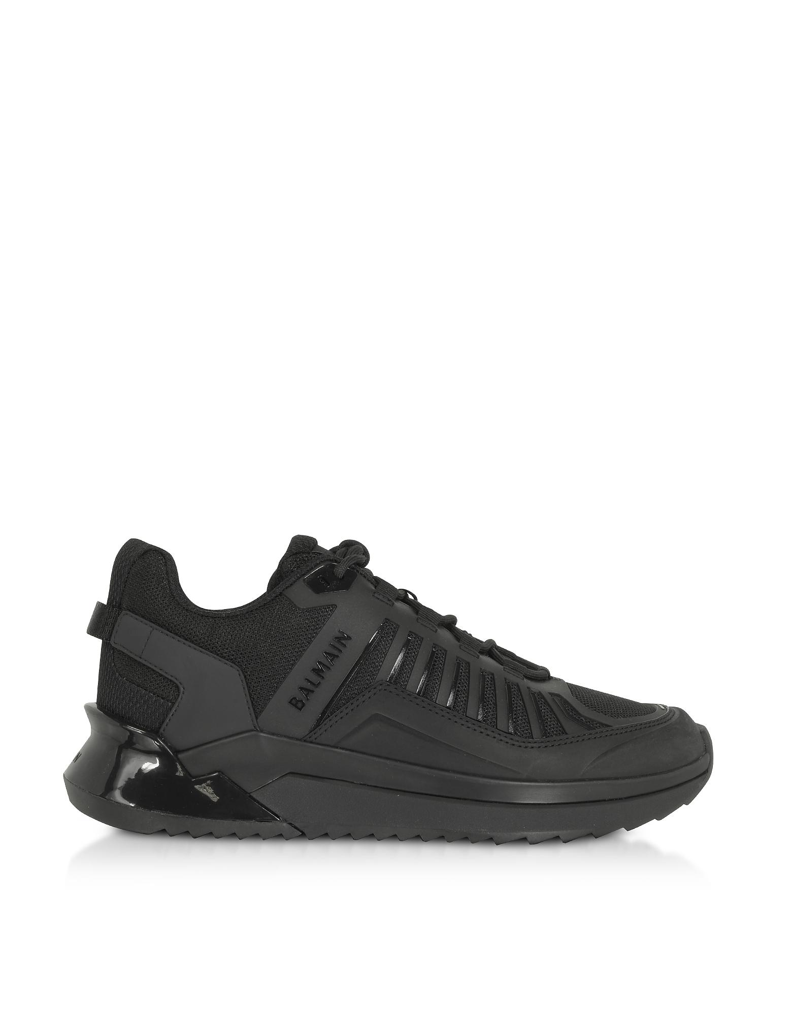 Balmain Designer Shoes, Black Mid Top Men's B-Trail Sneakers