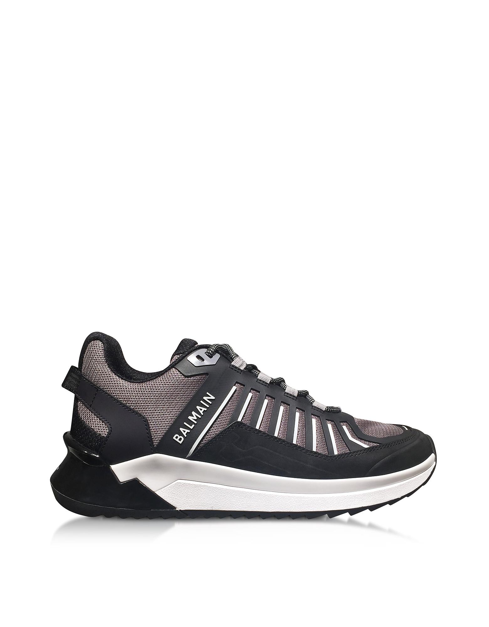 Balmain Designer Shoes, Black & Gray Low Top Men's B-Trail Sneakers