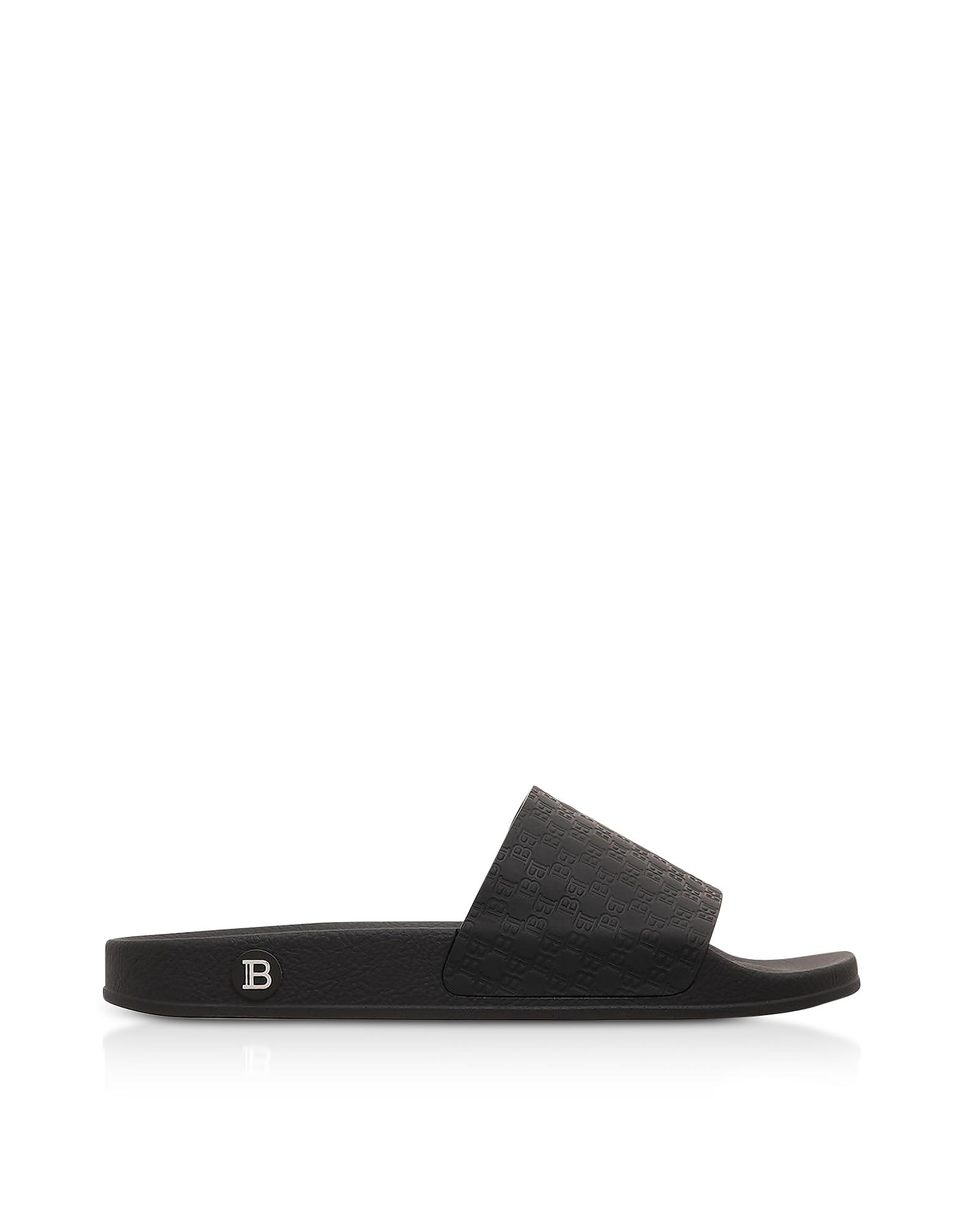Balmain Designer Shoes, Black Men's Calypso Slide Sandals