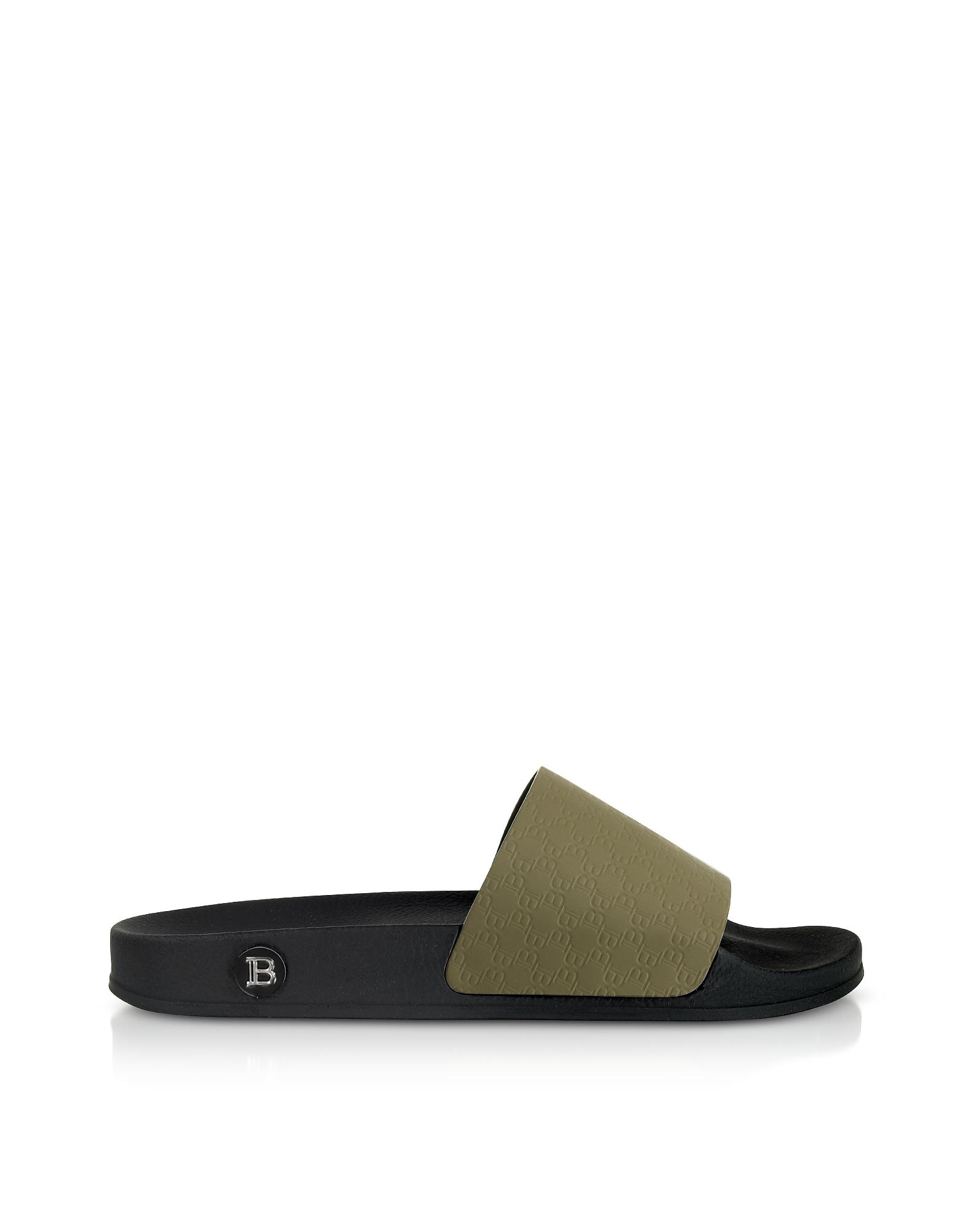 Balmain Designer Shoes, Dark Green Men's Calypso Slide Sandals