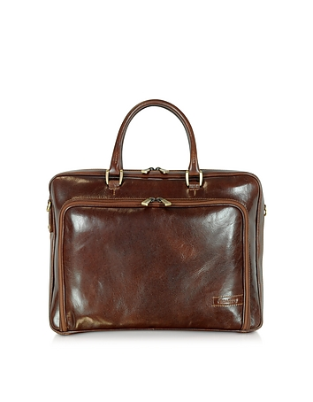 Dark Brown Double Handle Leather Zip Briefcase