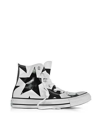 Chuck Taylor All Star High White Canvas W/Black Big Stars
