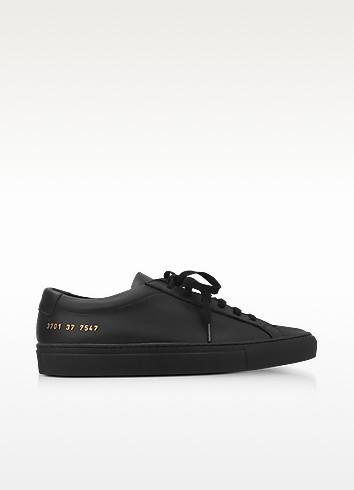 Black Leather Achilles Original Low Top Women'S Sneakers