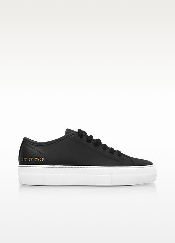 Black Leather Tournament Low Super Women'S Sneakers