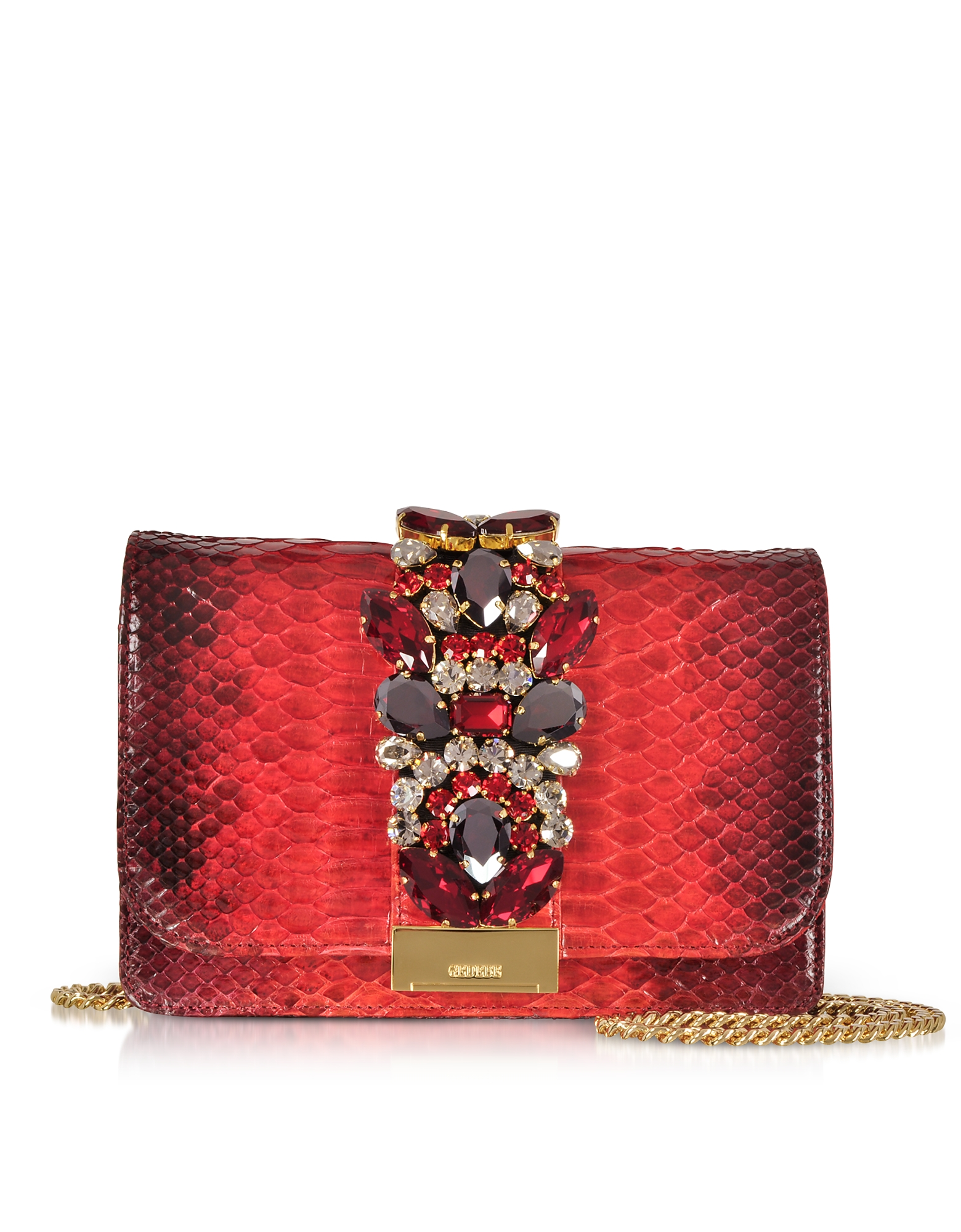 Gedebe CLIKY RED SHADOW PYTHON CLUTCH W/CRYSTALS AND CHAIN STRAP
