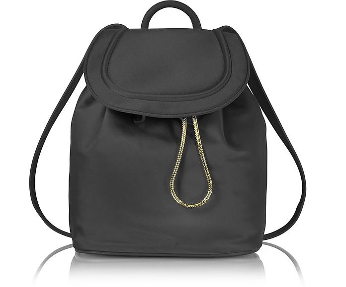 Satin Backpack W/Drawstring Flap Closure, Black