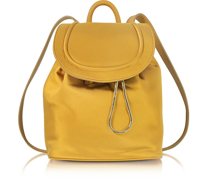Satin Backpack W/Drawstring Flap Closure in Ocher