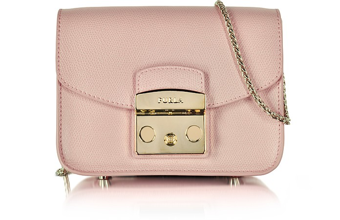 Metropolis Moonstone Leather Mini Crossbody Bag in Pink