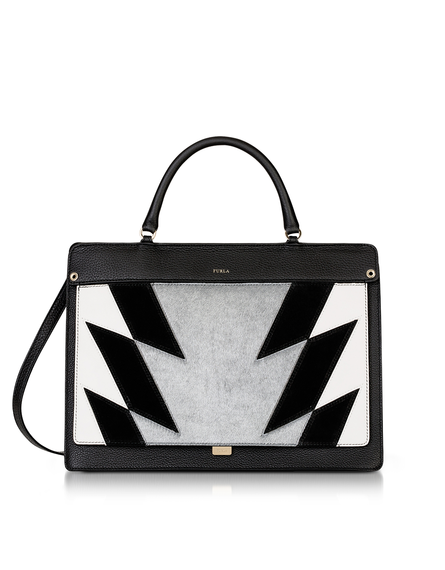 Furla Onyx Leather And Silver Haircalf Like Medium Top Handle Bag In Dome Small Authentic