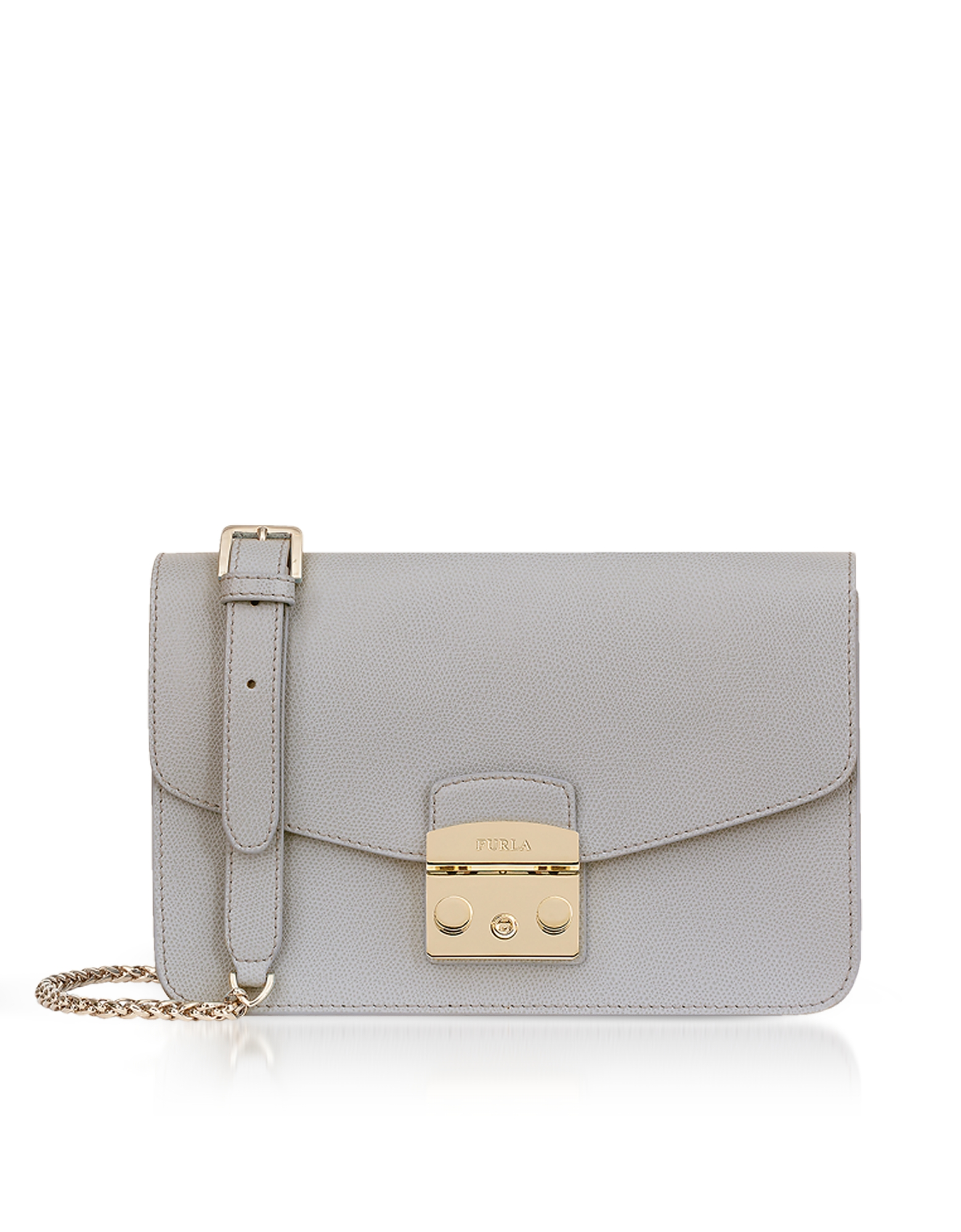 Genuine Leather Metropolis Small Shoulder Bag in Onice E Grey/Gold