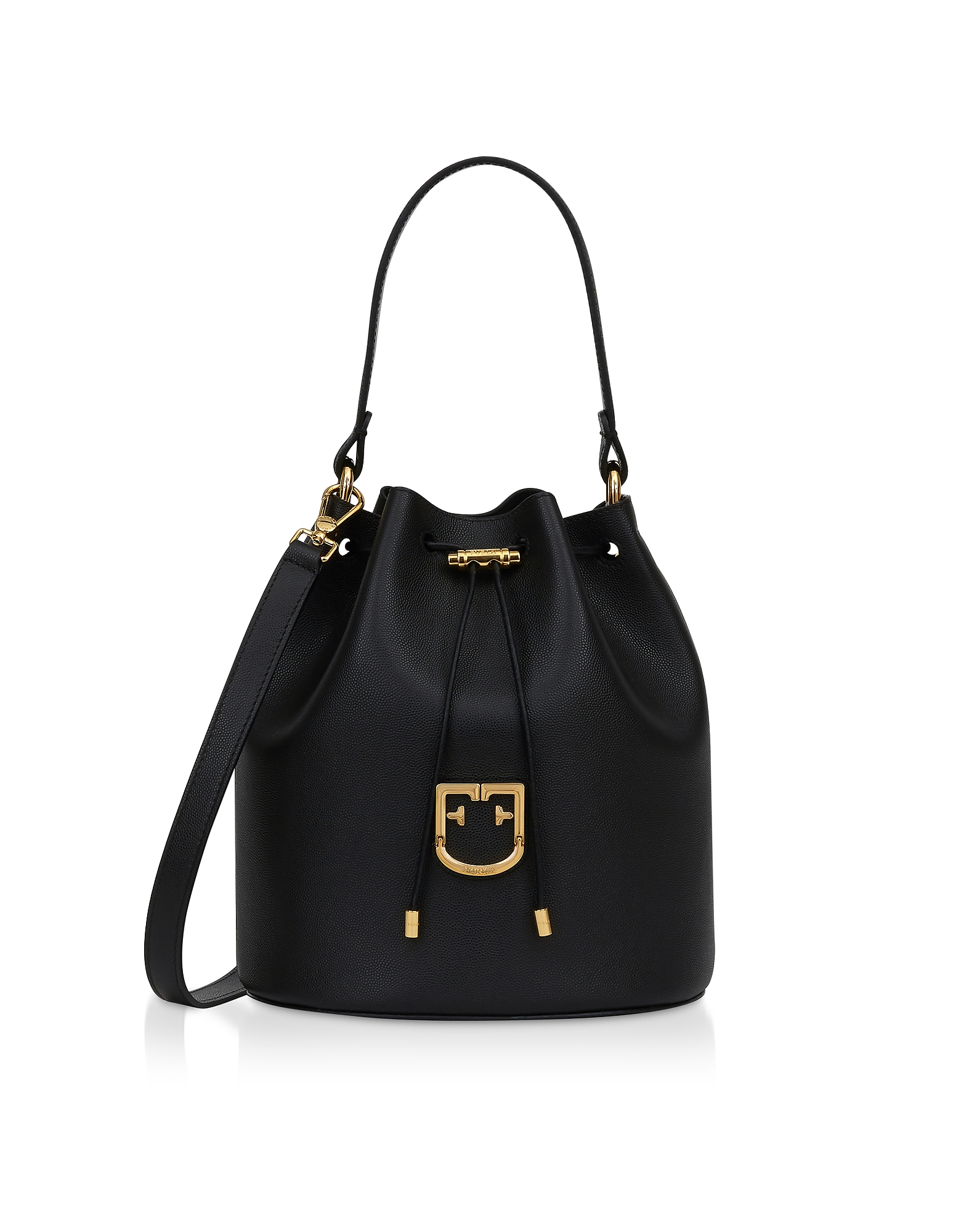 Furla Designer Handbags, Corona S Drawstring Leather Bucket Bag