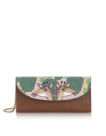 Altopiano Gioia XL Bi-Fold Saffiano Leather Wallet w/Chain