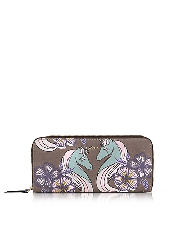 Unicorn and Butterfly Gioia XL Zip Around Saffiano Leather Wallet
