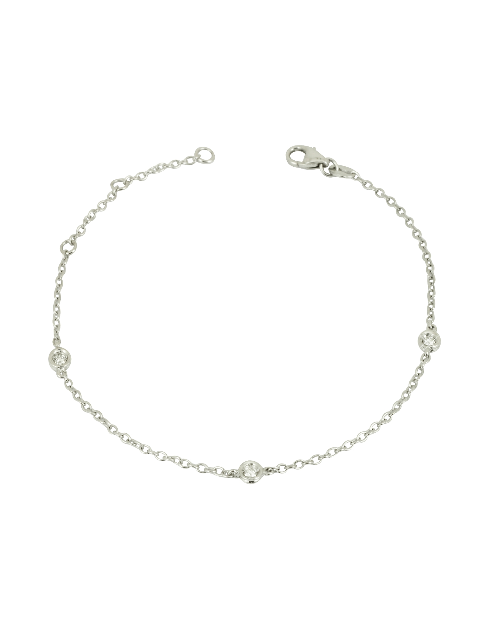Image of 0.09 ct Diamond 18K Gold Bracelet adds a delicate feminine touch when worn alone or stacked next to an elegant watch. Featuring three sparkling diamonds interspersed on a delicate 18k white gold chain bracelet with lobster closure. Made in Italy. fz300415