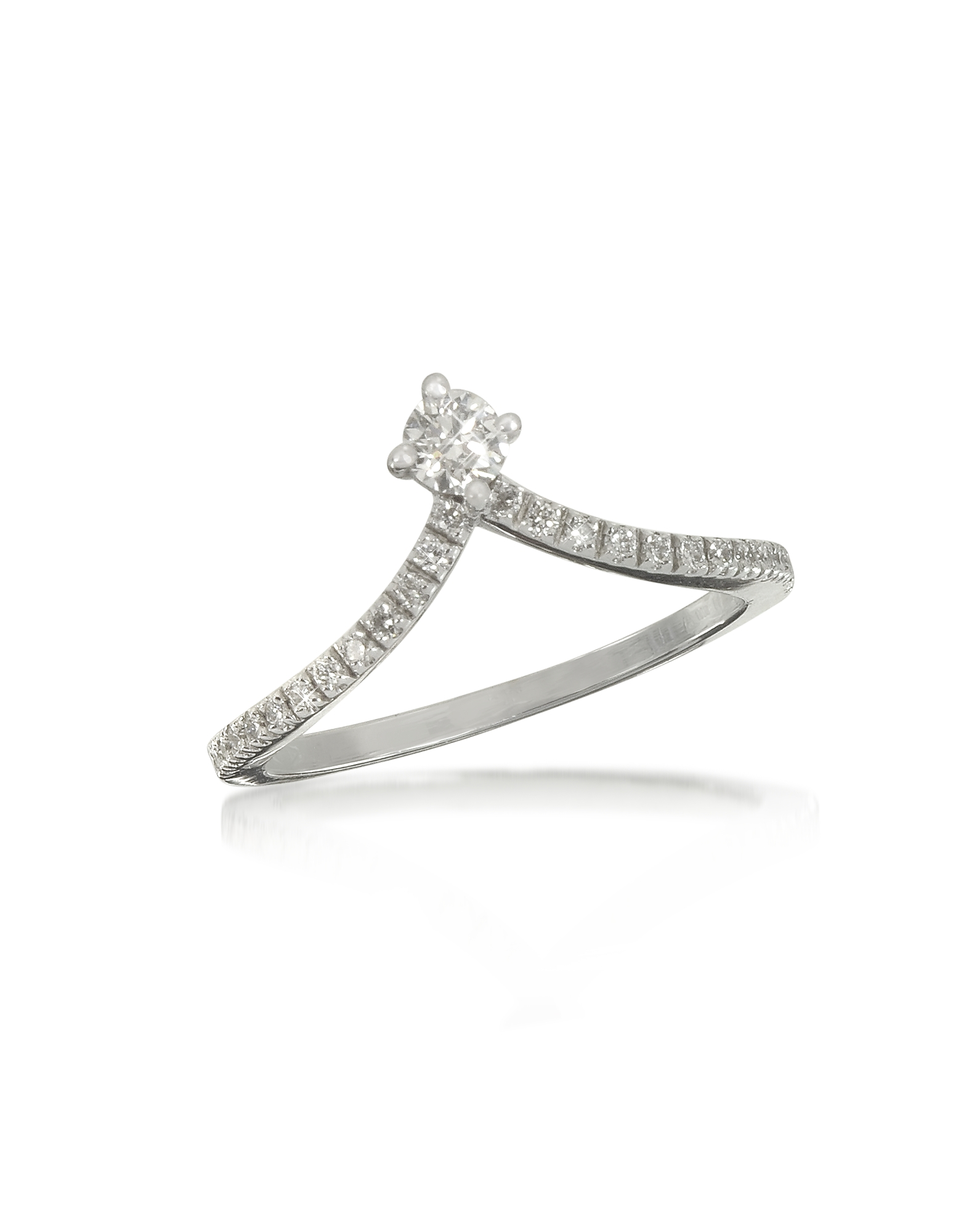 Image of 0.12 ctw Diamond 18K White Gold Solitaire Ring features a single round-cut diamond in a four-prong setting on a single 18K white gold swooping arrow shape band with pavè diamonds. Handmade in Italy. Custom size available. fz410217-001-00