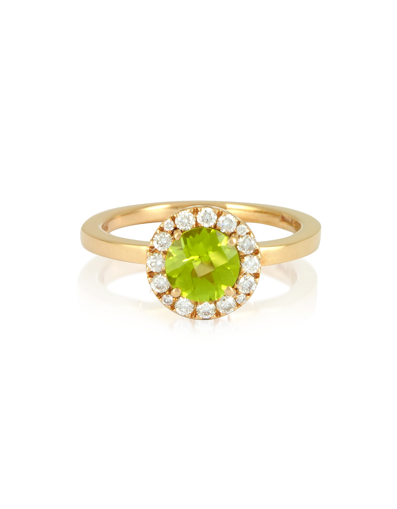 Image of 0.22 ct Diamond Pave 18K Gold Ring w/Green Peridot is dazzling with a vintage inspired design, 18K gold band, sixteen sparkling diamonds surrounding a round green peridot stone and a smooth polished finish. Made in Italy. fz410415-028-00