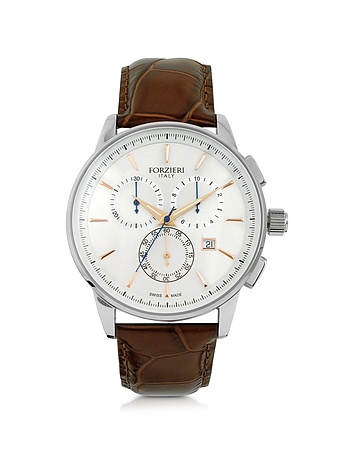 Viareggio Silver Tone Stainless Steel Case and Brown Embossed Leather Men's Chrono Watch