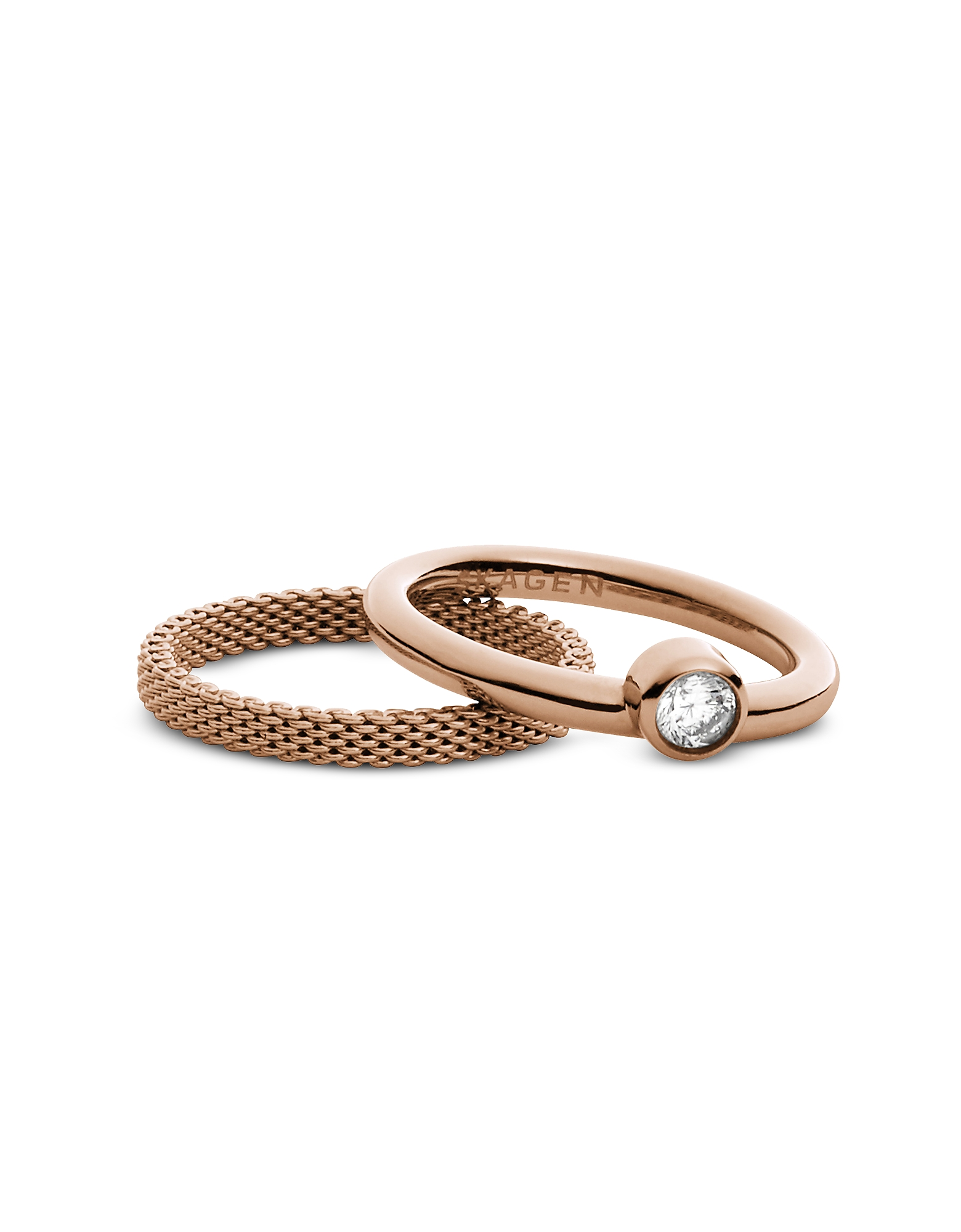 Skagen ROSE GOLDTONE STAINLESS STEEL ELIN WOMEN'S RING