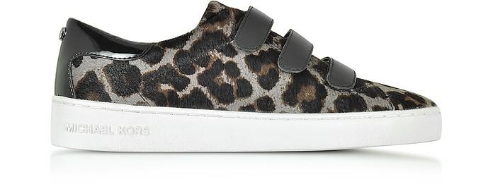 Michael Kors Leathers Craig Dark Gray Hair-Calf and Black Patent Leather Sneaker