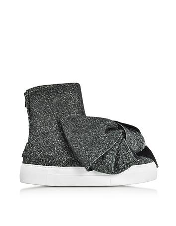 Black Lurex Bow Slip on Sneakers