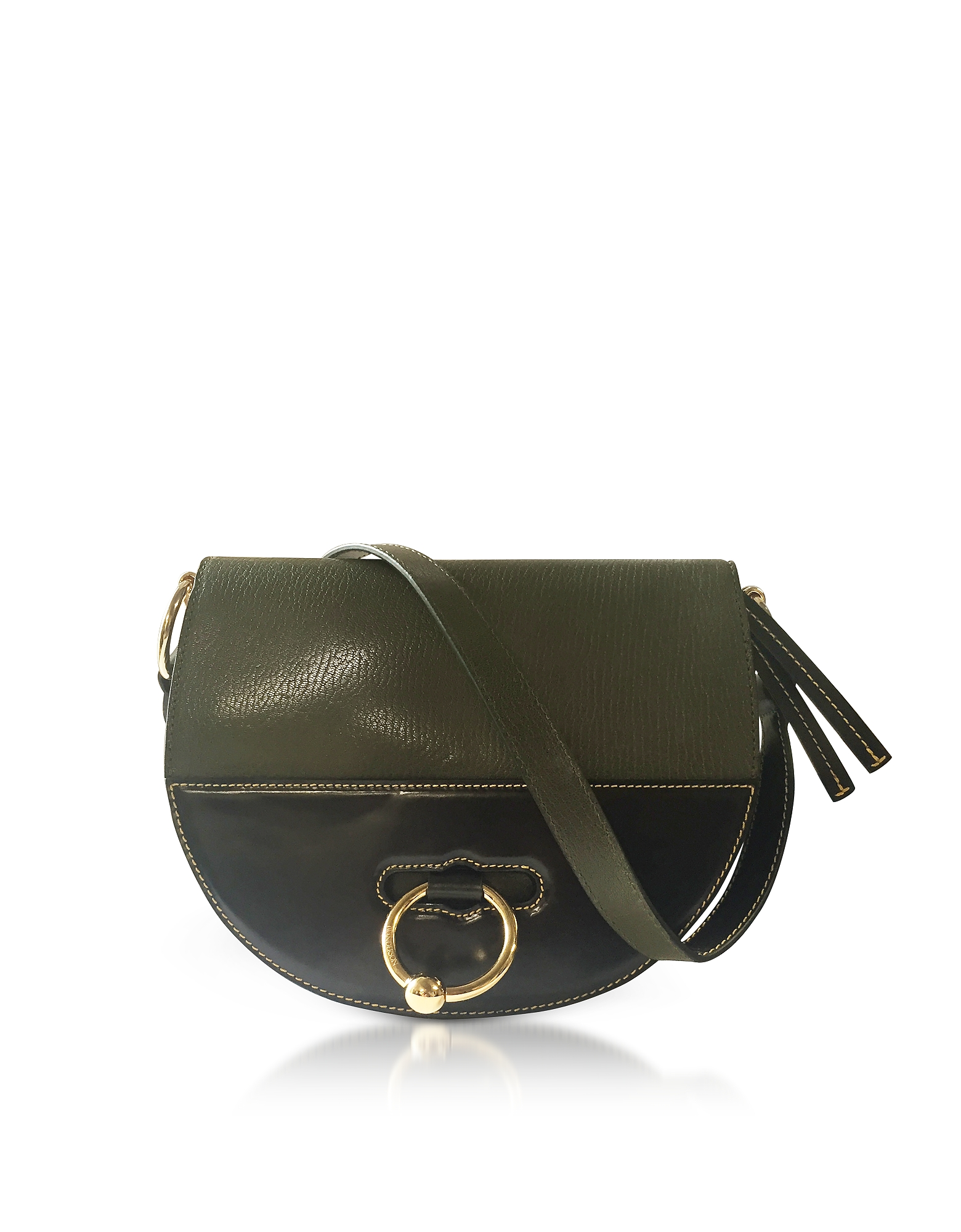 J.W.ANDERSON Jw Anderson Khaki Green Latch Leather Shoulder Bag