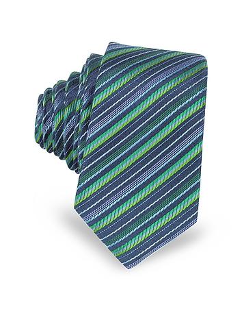 Navy Blue and Green Diagonal Stripe Woven Silk Extra-Narrow Tie
