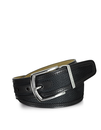 St. Barth Black Perforated Nubuck and Leather Belt