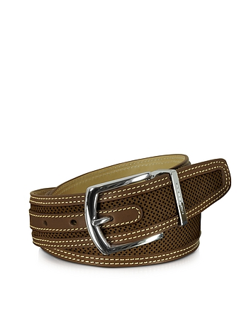 St. Barth Brown Perforated Nubuck and Leather Belt
