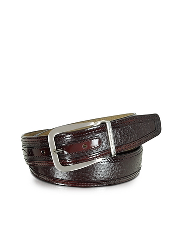 Lione Burgundy Peccary and Leather Belt