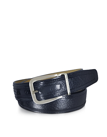 Lione Navy Blue Peccary and Leather Belt