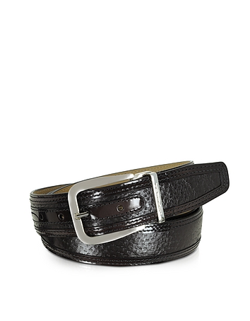 Lione Brown Peccary and Leather Belt