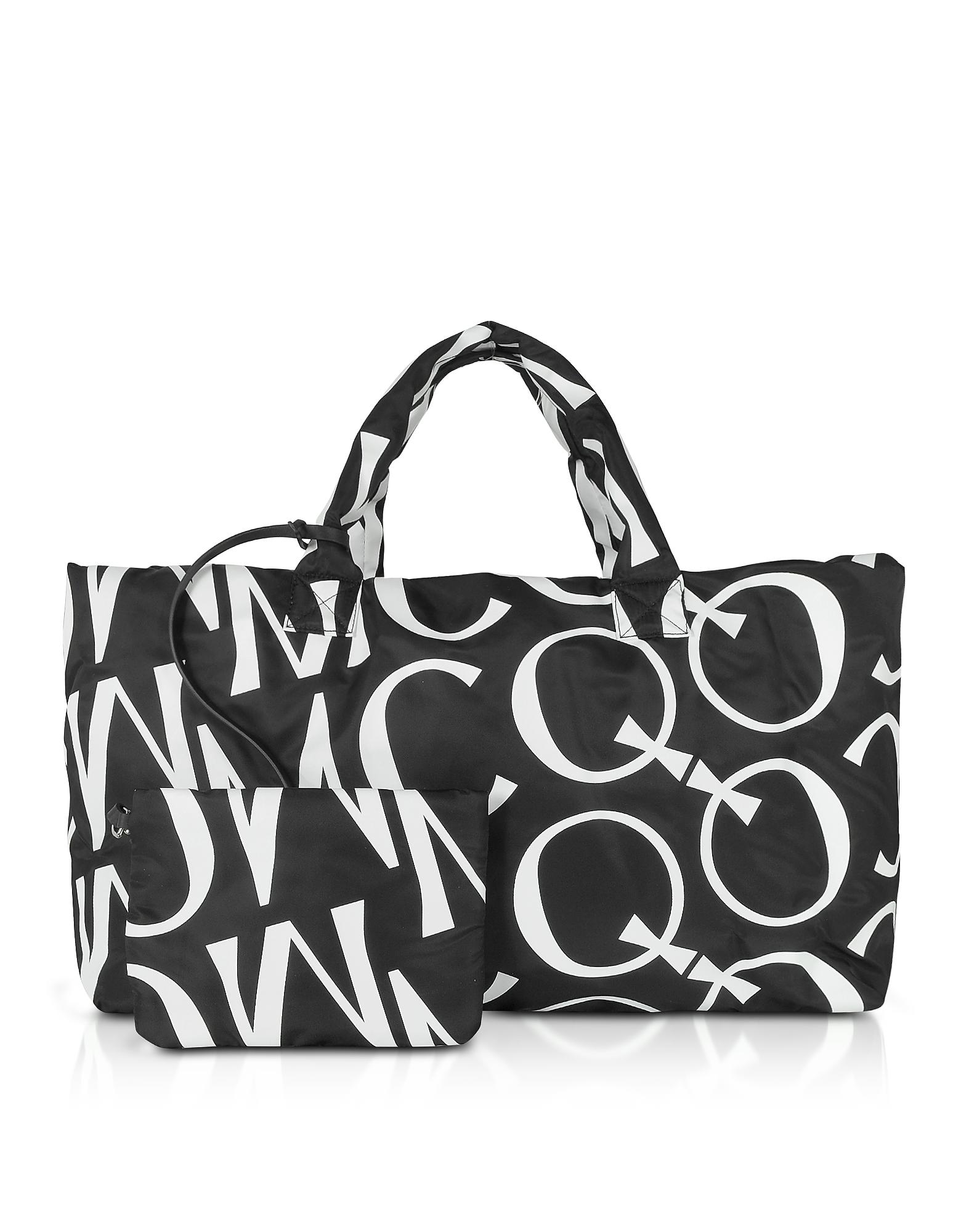 McQ Alexander McQueen Designer Handbags, Inside Out Black & White Signature Tote Bag
