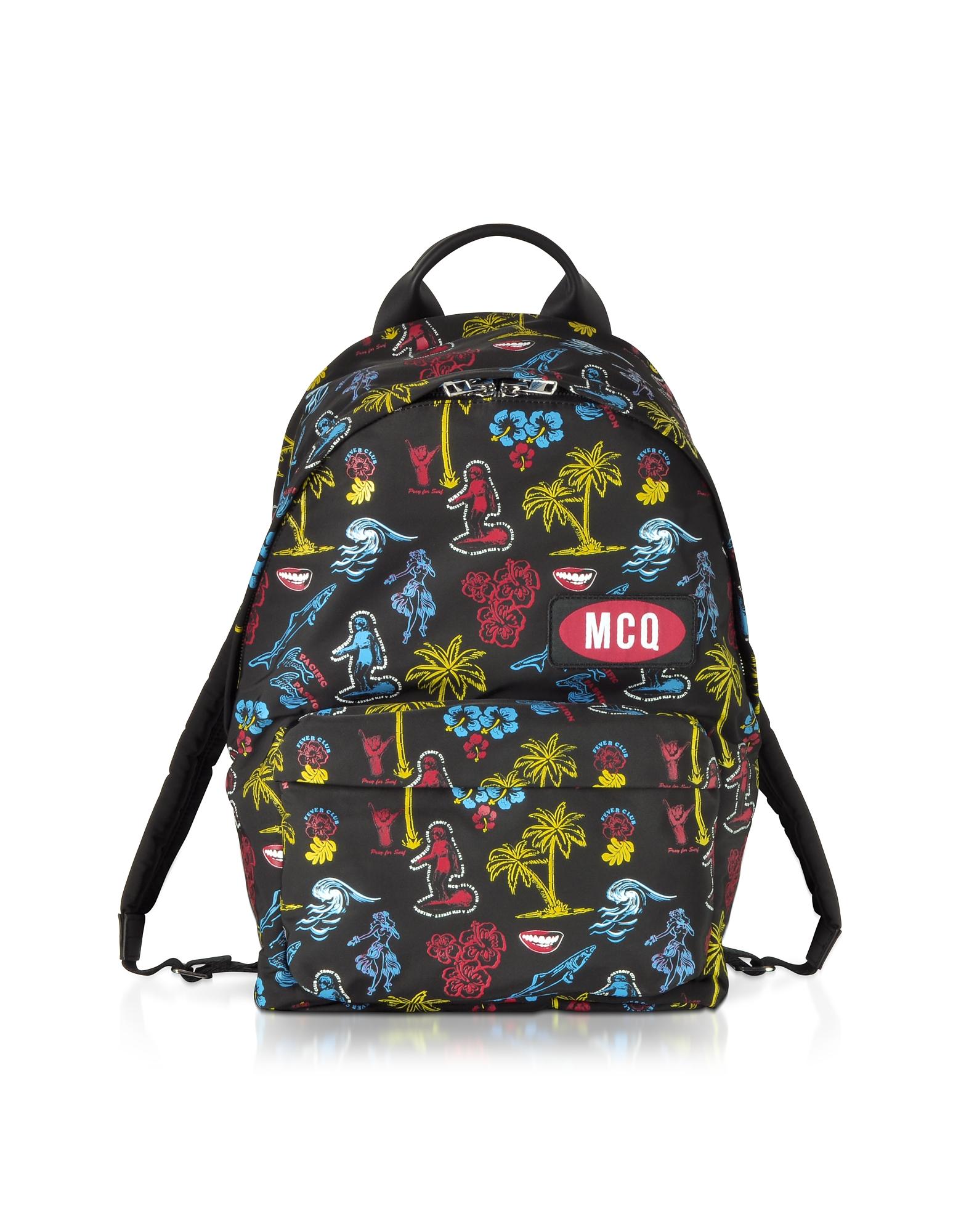 McQ Alexander McQueen Designer Men's Bags, Darkest Black Printed Nylon Classic Backpack