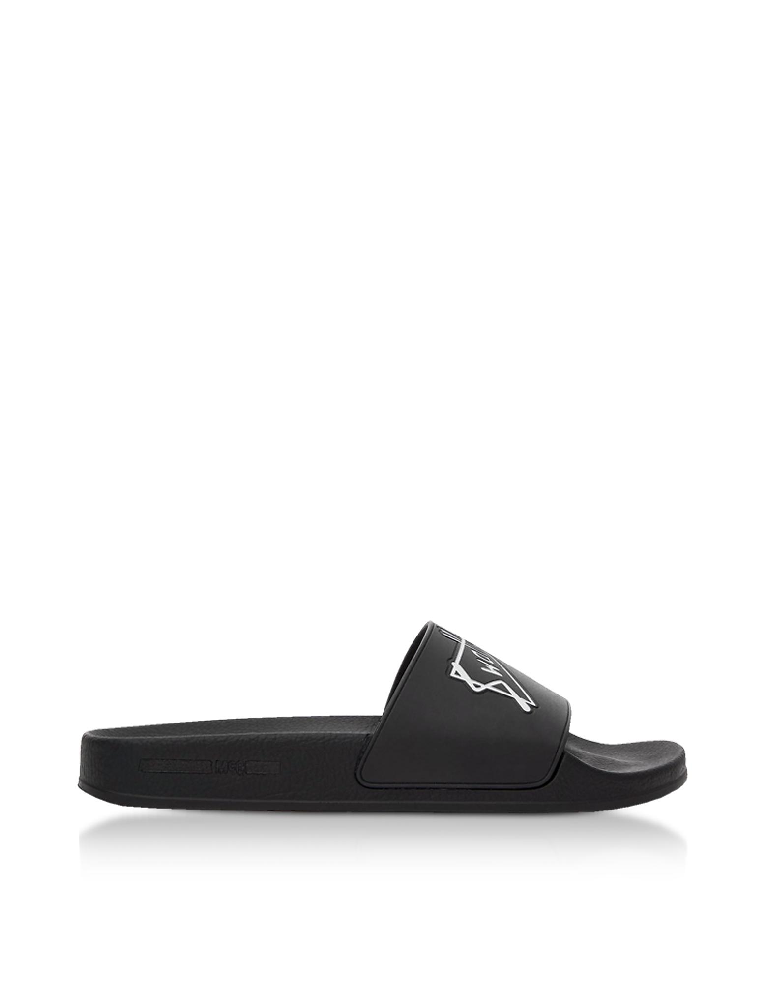McQ Alexander McQueen Designer Shoes, Black Swallow Slide Sandals