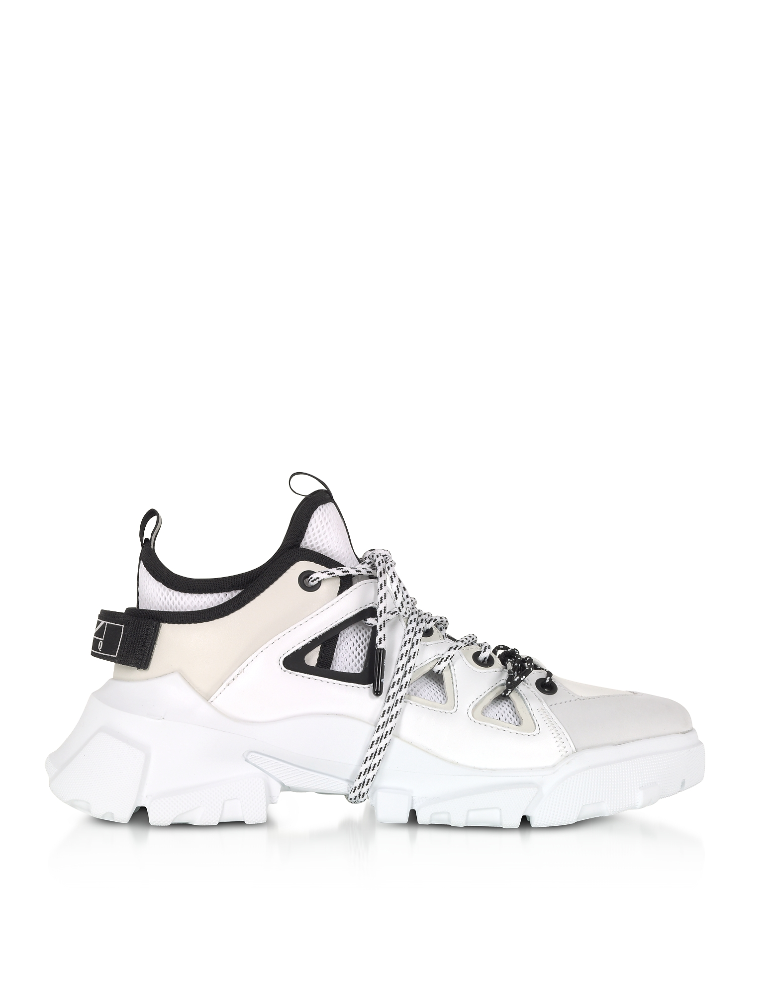 McQ Alexander McQueen Designer Shoes, Orbyt Mid Black, White & Off White Men's Sneakers