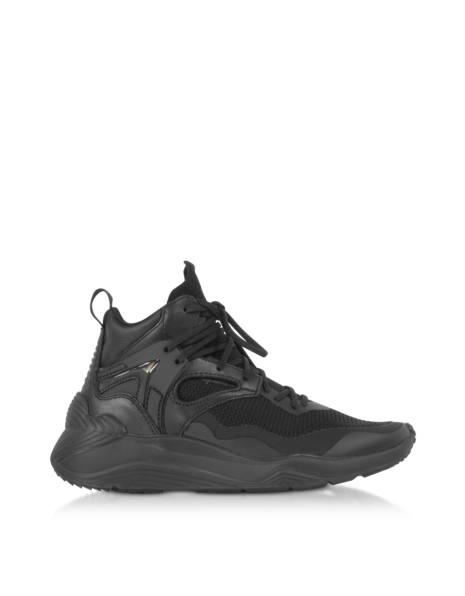 McQ Alexander McQueen Designer Shoes, Sodai Black Calf Leather and Fabric Women's Sneakers