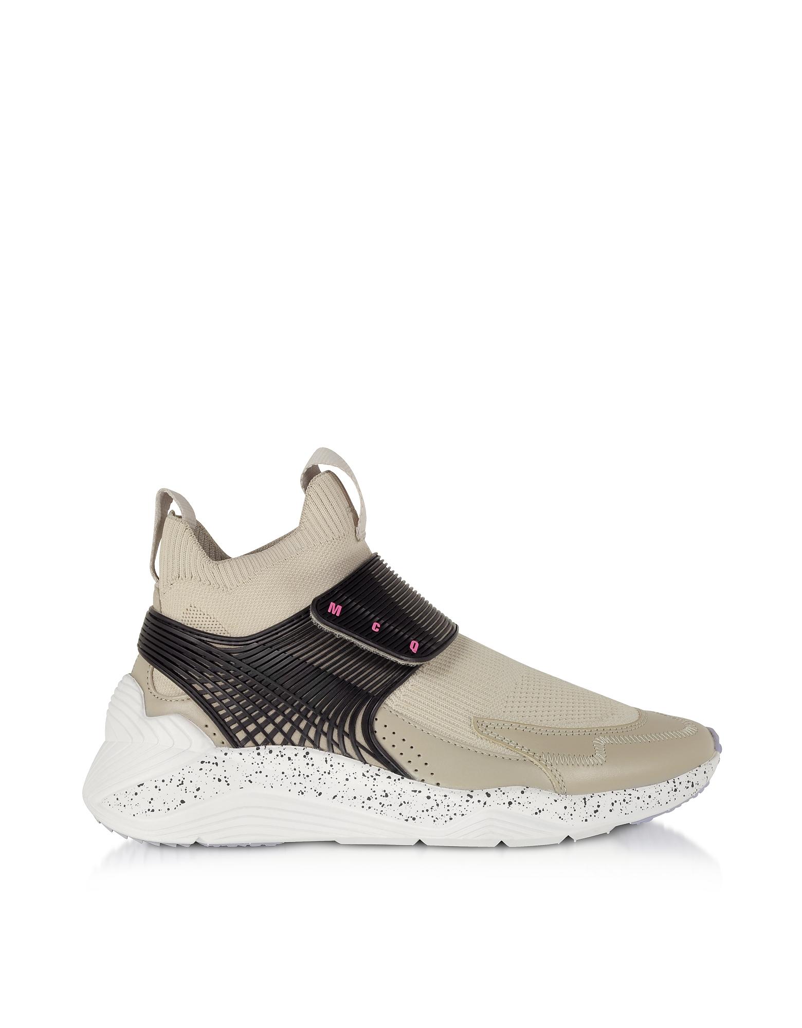 McQ Alexander McQueen Designer Shoes, Hikaru 3.0 Almond & Black Nylon Women's Sneakers