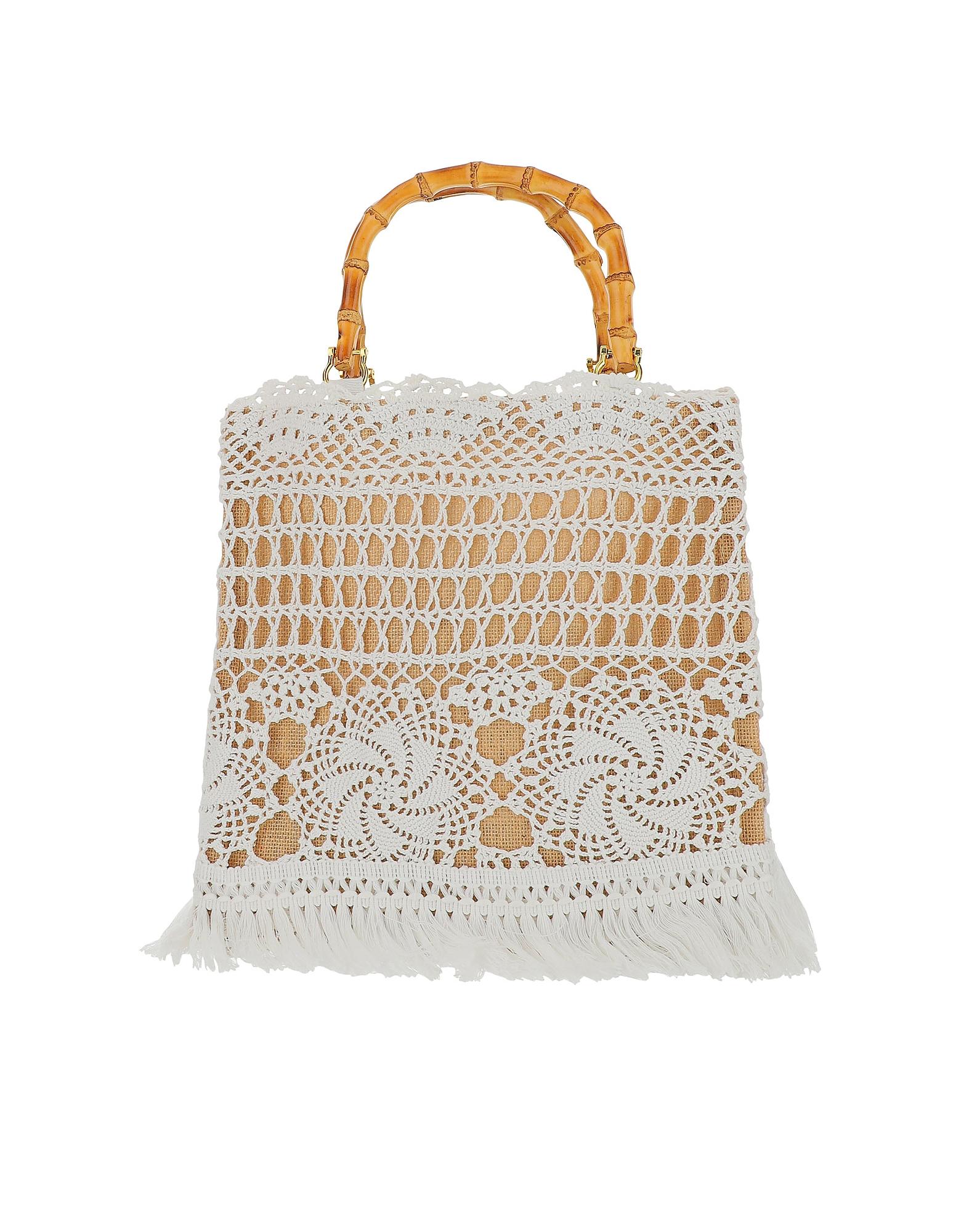 LaMILANESA Designer Handbags, Small Natural Crochet Tote Bag