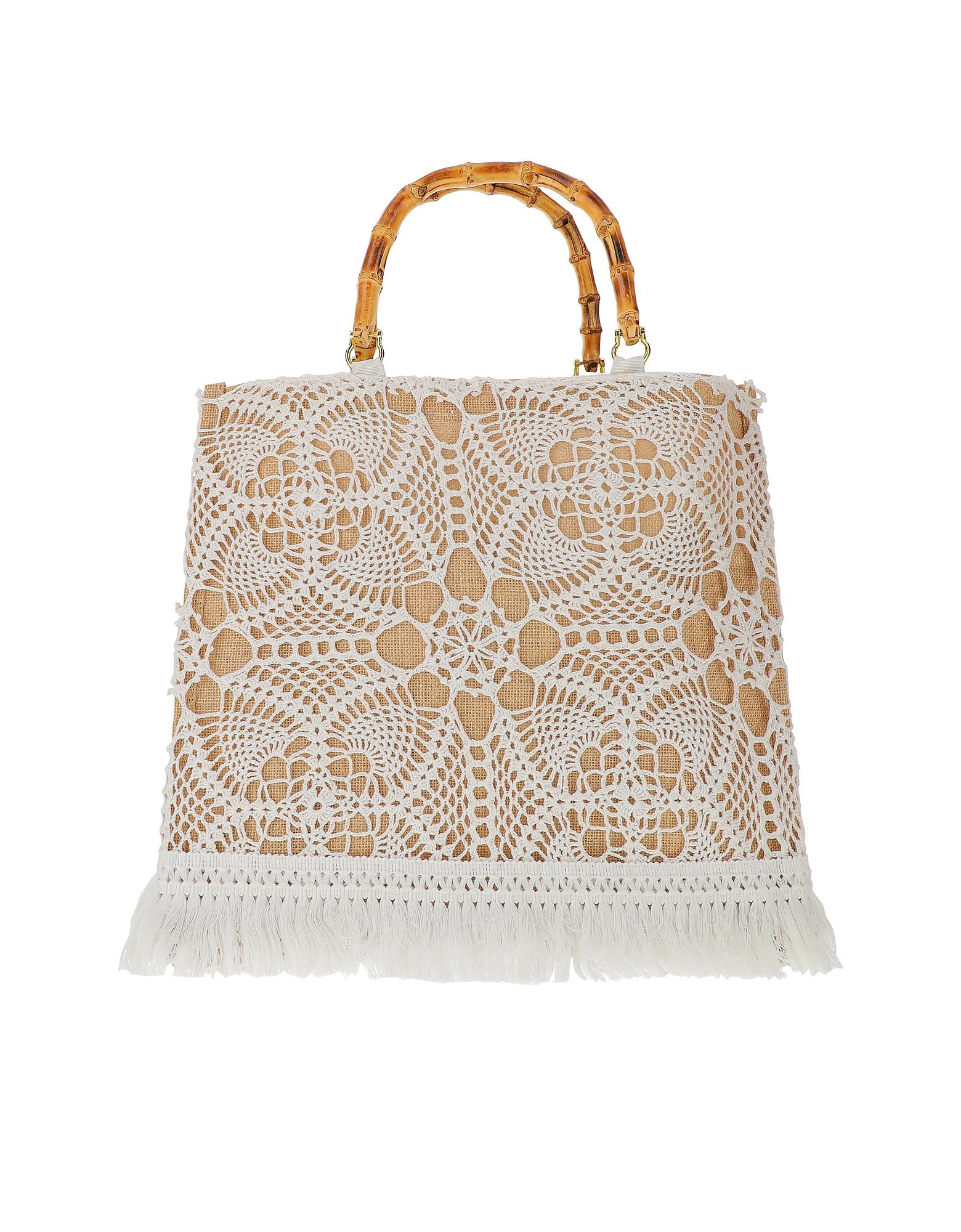 LaMILANESA Designer Handbags, Natural Crochet Tote Bag