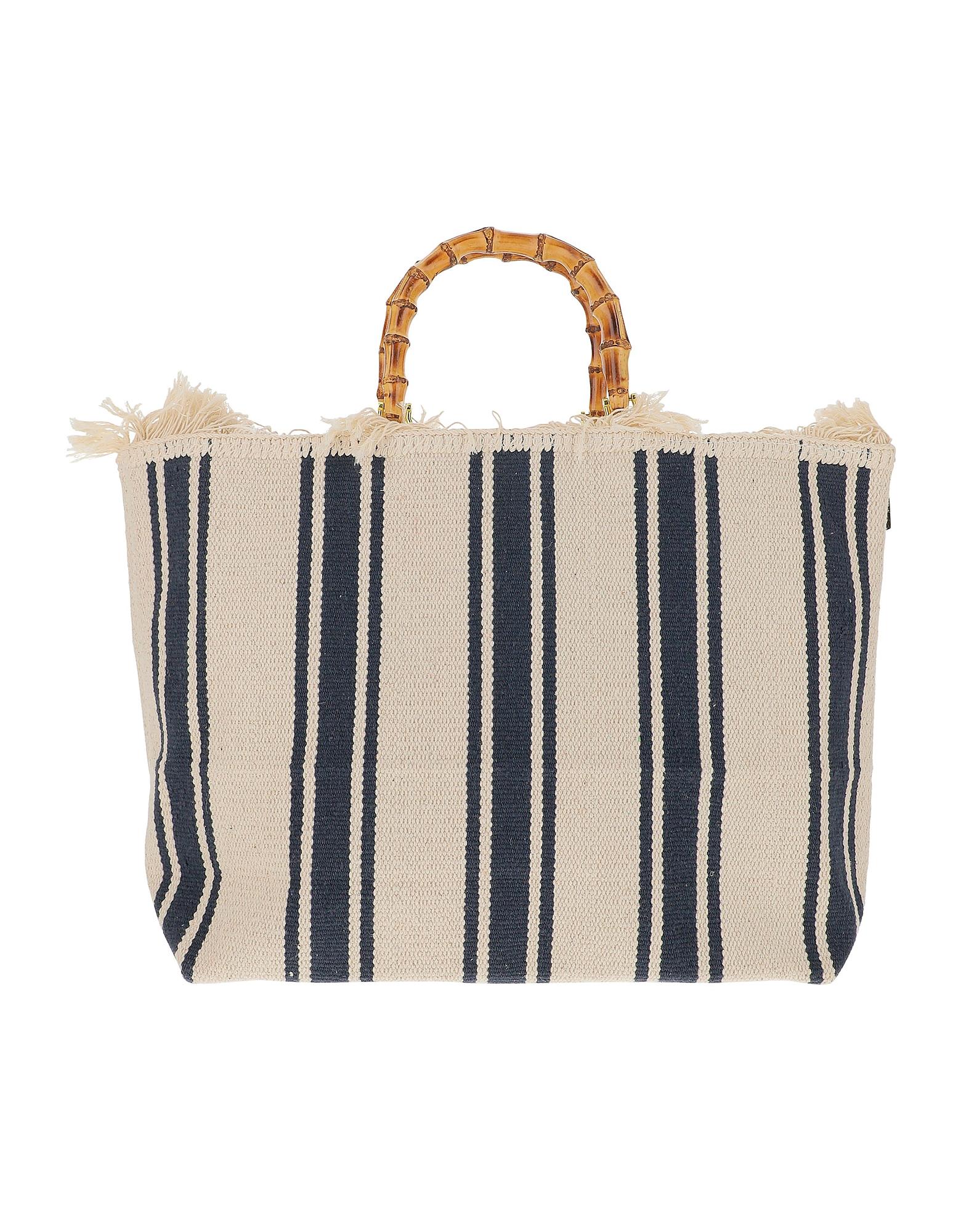 LaMILANESA Designer Handbags, Large Blue Stripes Canvas Tote bag w/Bamboo Handles