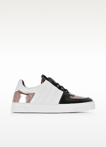 Proenza Schouler  BLACK, WHITE AND ROSE GOLD LAMINATED LEATHER SNEAKERS
